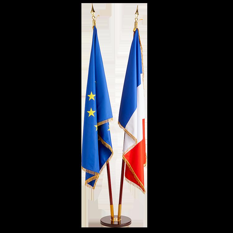 Drapeau France et Europe à frange sur socle