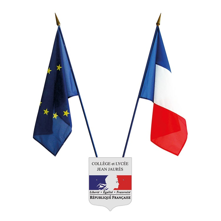 Ecusson porte-drapeaux personnalisé pour école - Ecusson + 2 drapeaux
