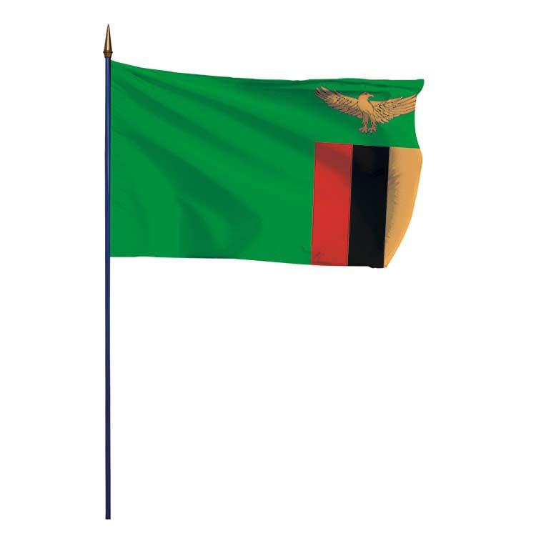 Drapeau Zambie sur hampe