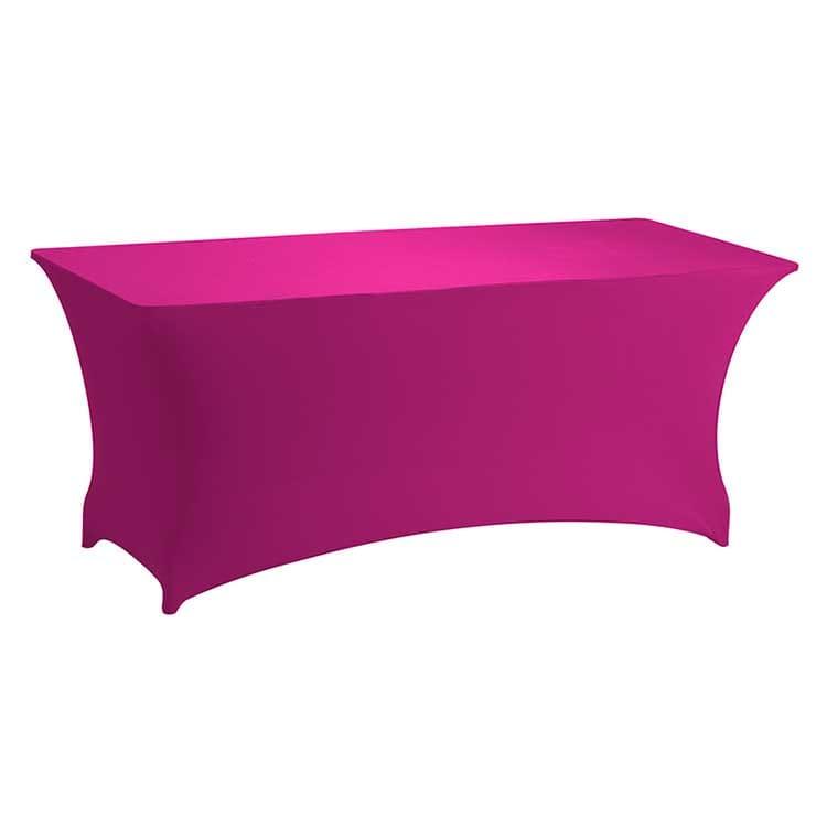 Housse stretch fuschia pour table pliante rect. 183 x 76 cm