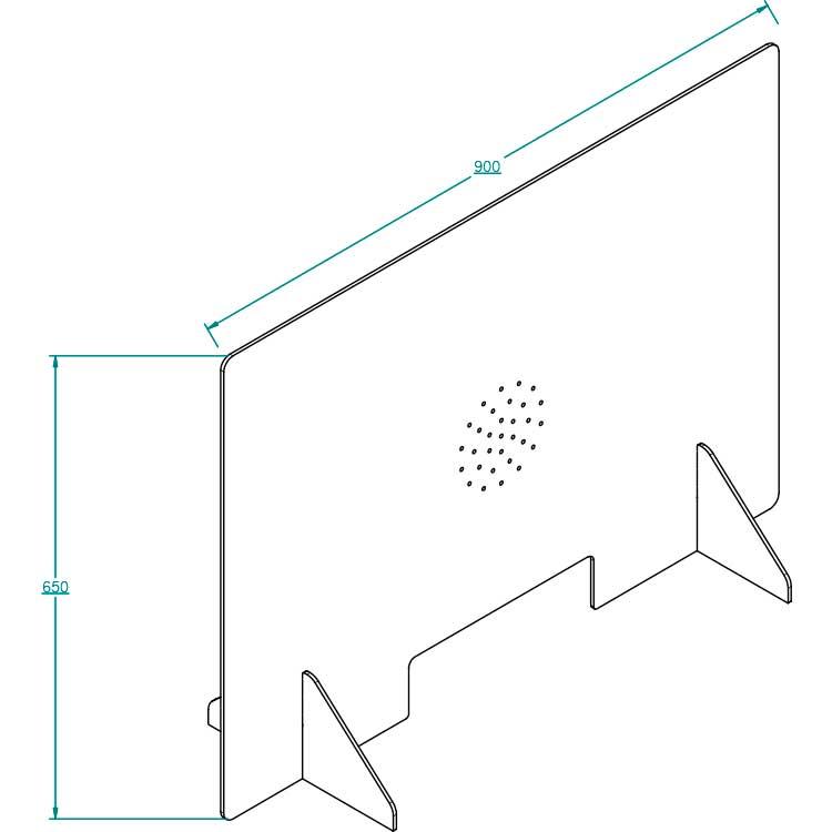Vitrine hygiaphone mobile - avec passe document vue isométrique