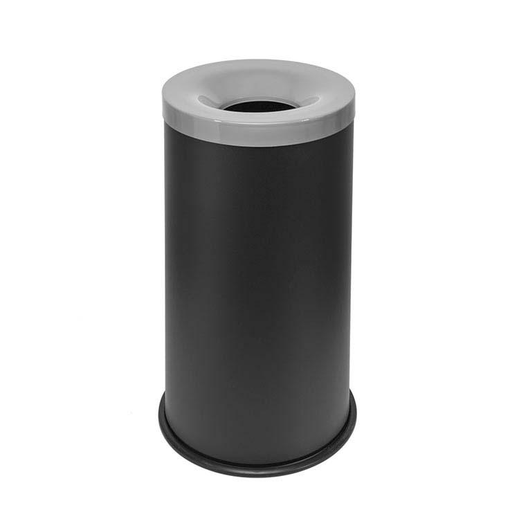 Corbeille anti-feu Autoextint noir/couv. gris - 90 litres