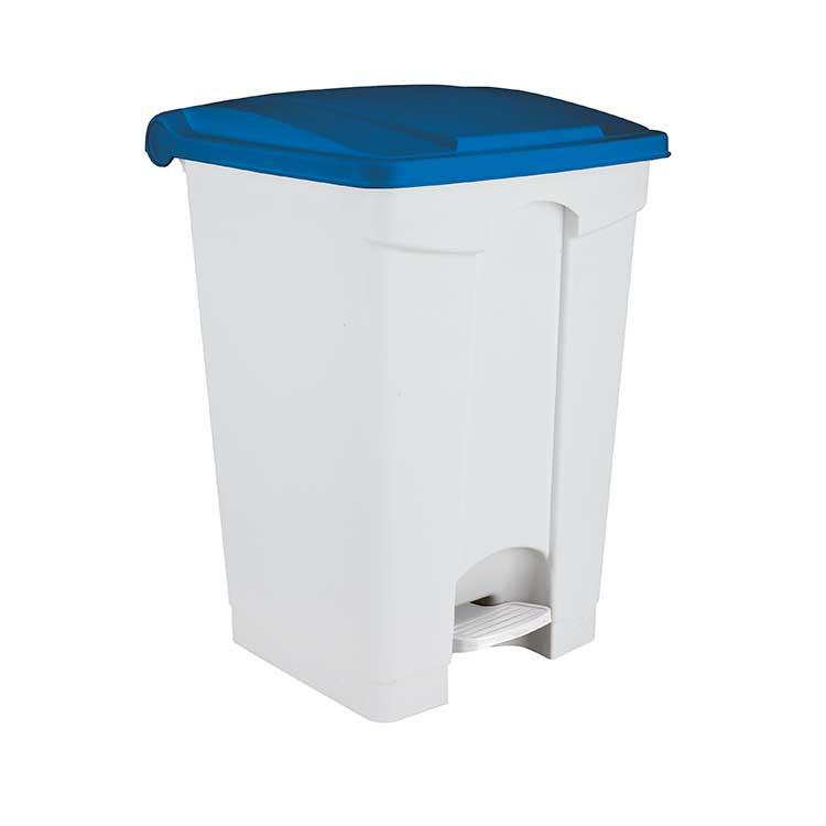 Conteneur à pédale blanc 45 litres - couvercle bleu