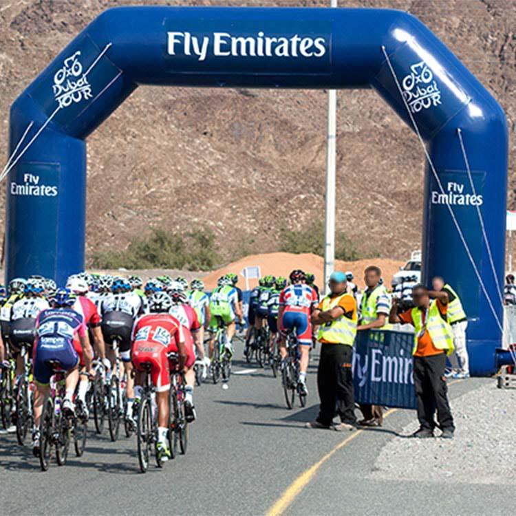 Arche gonflable pentagonale course cycliste