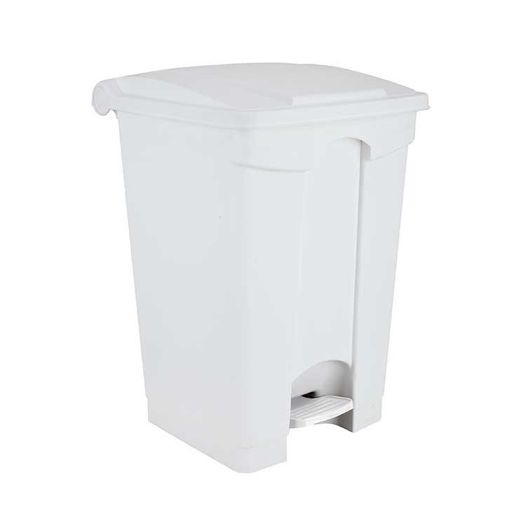 Conteneur à pédale blanc 45 litres - couvercle blanc