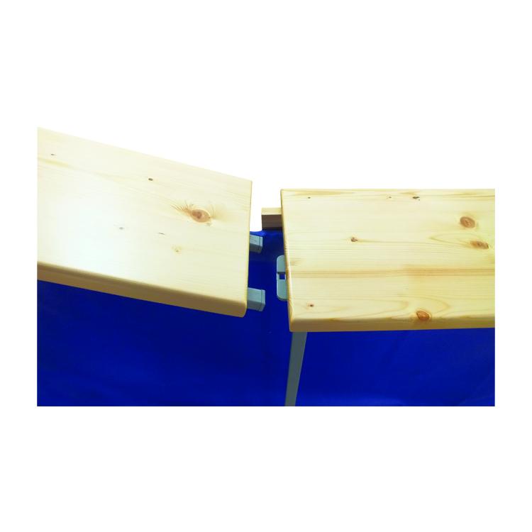 Zoom liaison comptoir bois pour stand comptoir pliant