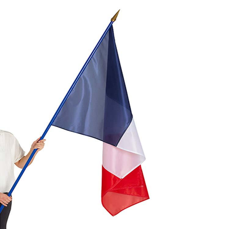 Drapeau de la France sur hampe en bois main 60x90
