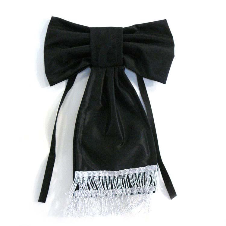 Noeud tissu noir avec frange pour deuil