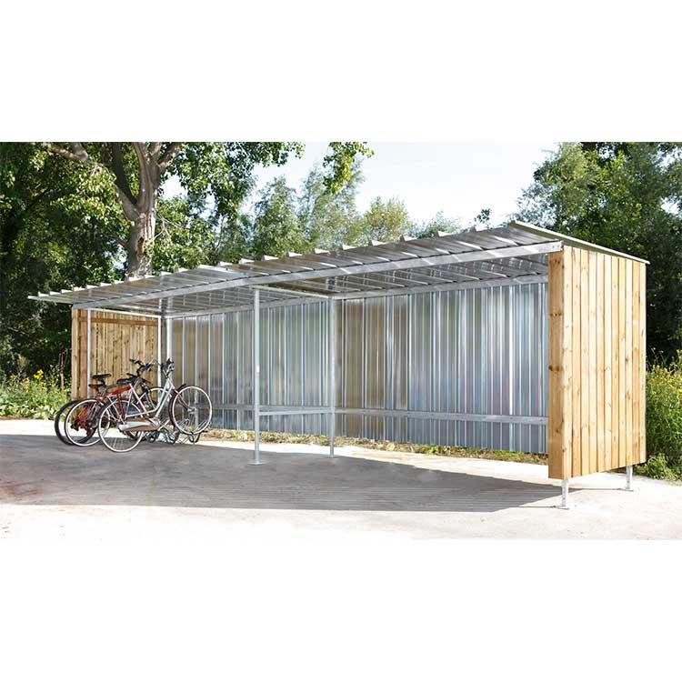 Abri deux-roues Oslo métal bois avec vélo