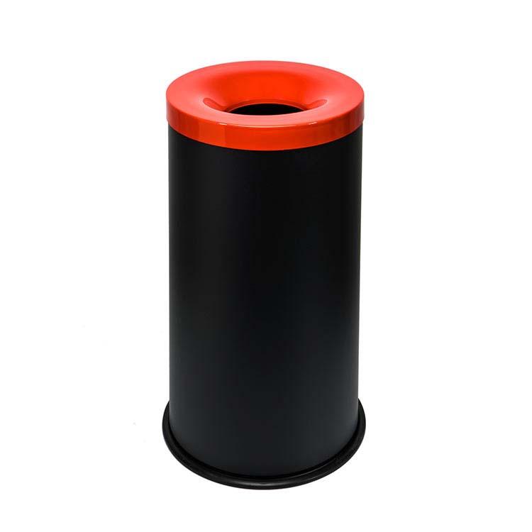 Corbeille anti-feu Autoextint noir/couv. rouge - 90 litres