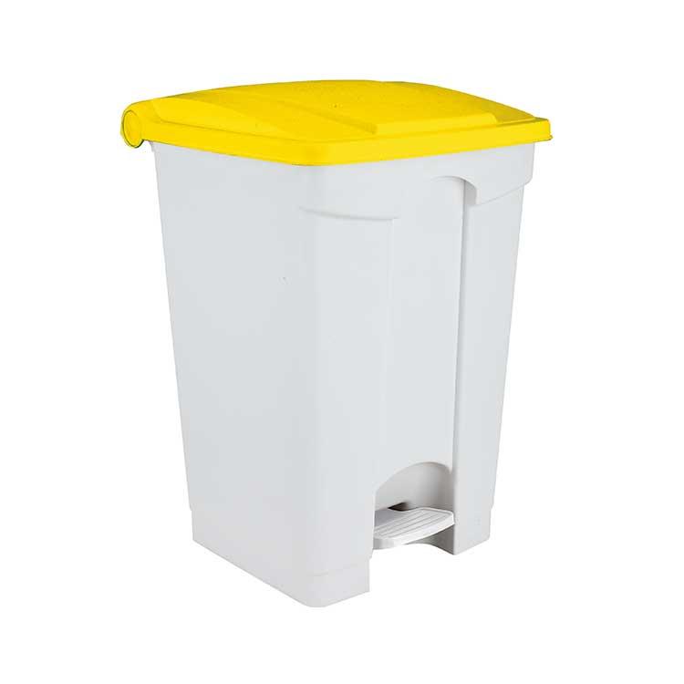 Conteneur à pédale blanc 45 litres - couvercle jaune