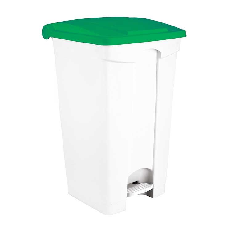 Conteneur à pédale blanc 90 litres - couvercle vert