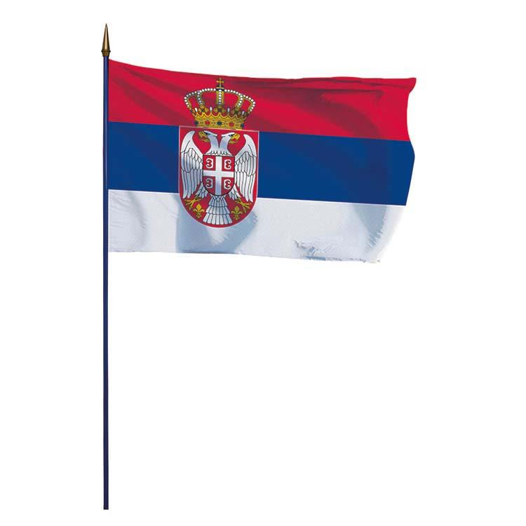 Drapeau Serbie sur hampe