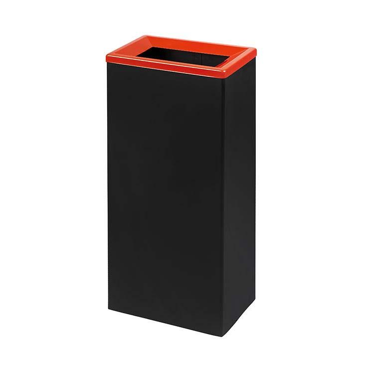 Corbeille Quadratri noir/couv. rouge - 42 litres