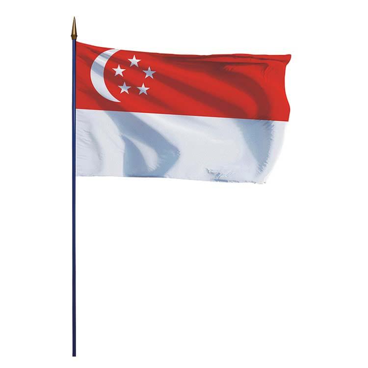 Drapeau Singapour sur hampe