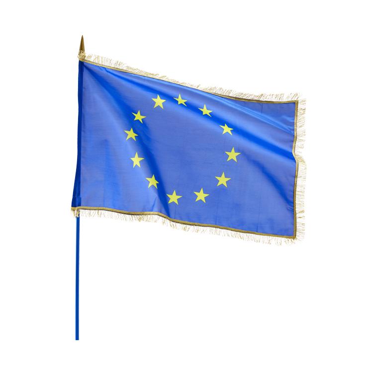 Drapeau Europe sur hampe avec franges dorées