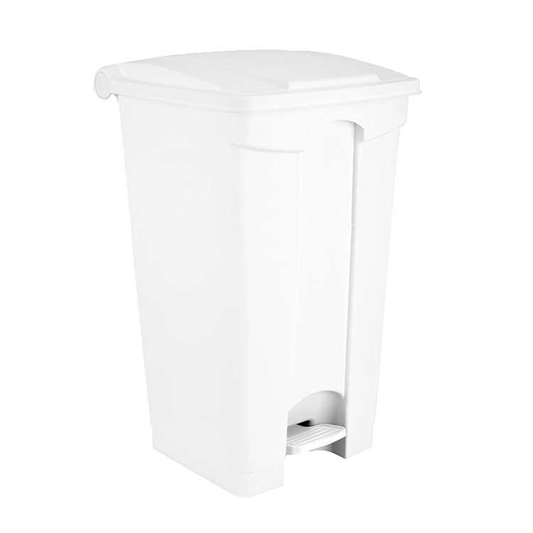 Conteneur à pédale blanc 90 litres - couvercle blanc