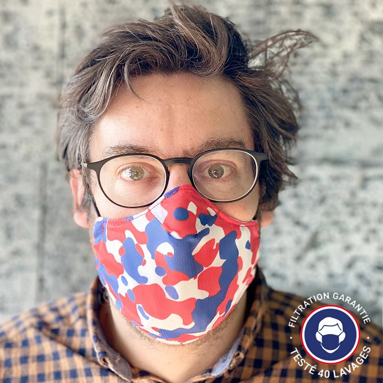 Masque tissu ColleKtor bleu blanc rouge UNS1
