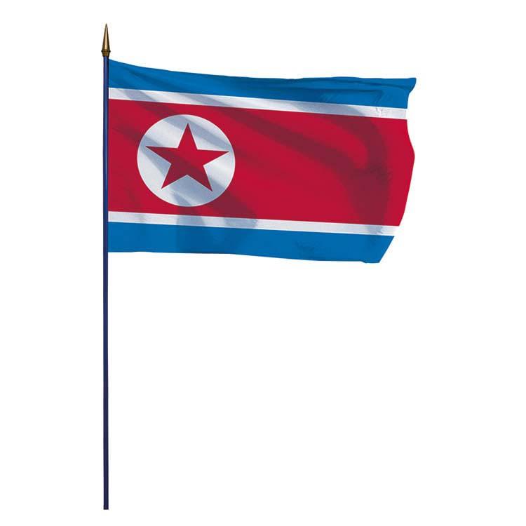 Drapeau Corée du Nord sur hampe