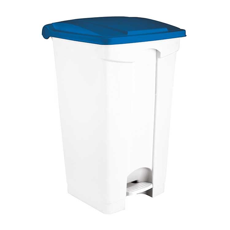 Conteneur à pédale blanc 90 litres - couvercle bleu