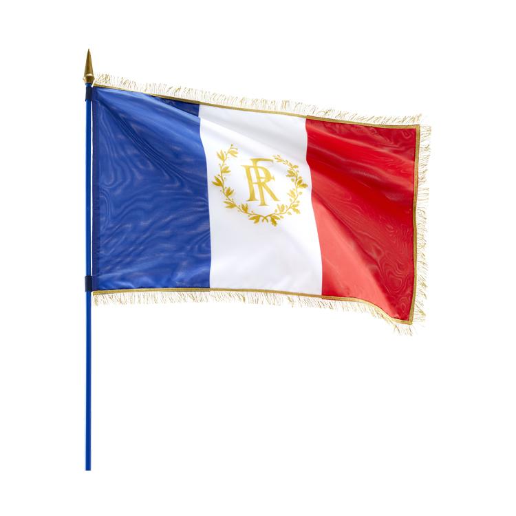 Drapeau France RF sur hampe avec franges dorées