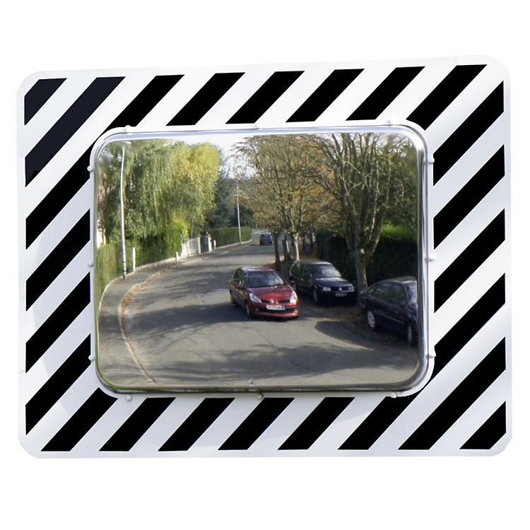 Miroir de sécurité pour voies publiques rectangulaire