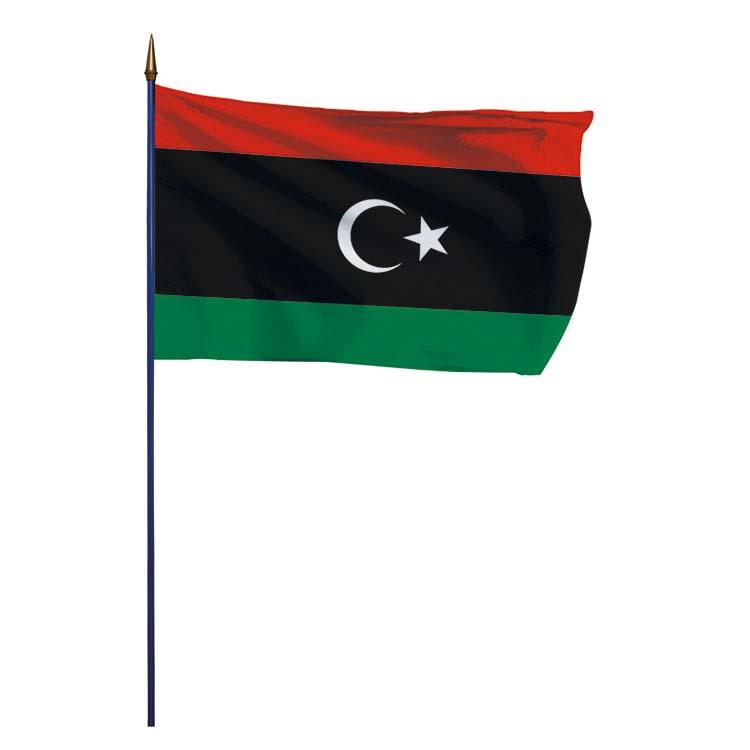 Drapeau Libye sur hampe