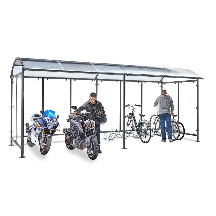 Abri deux-roues Stockholm dôme avec vélos et motos