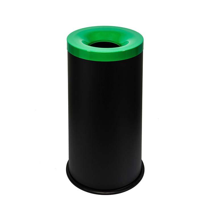 Corbeille anti-feu Autoextint noir/couv. vert - 90 litres
