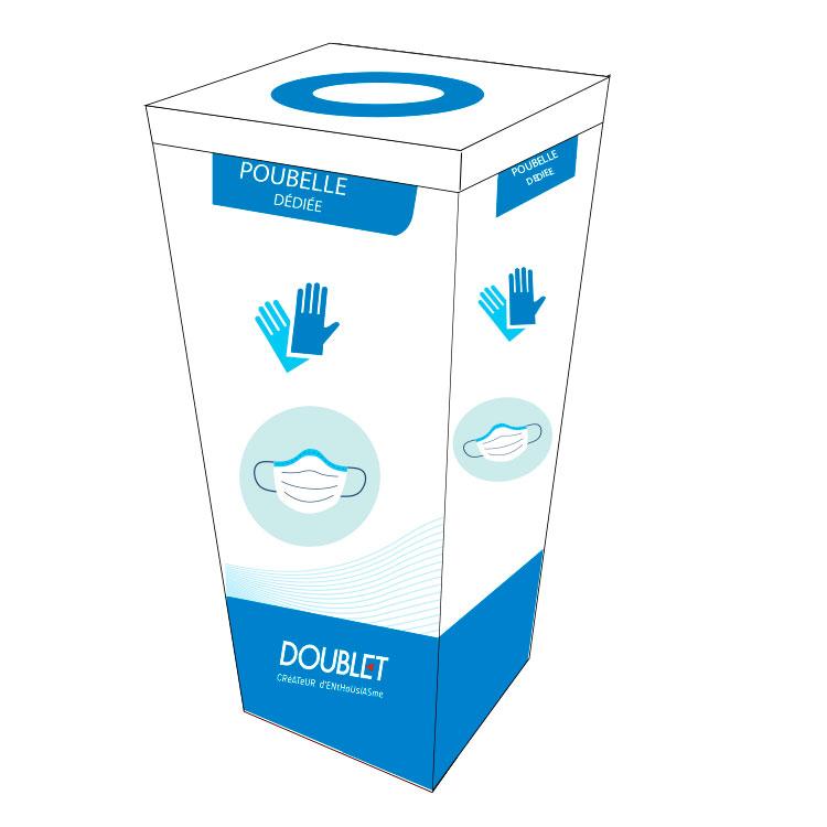 Poubelle en carton pour masques anti-postillons