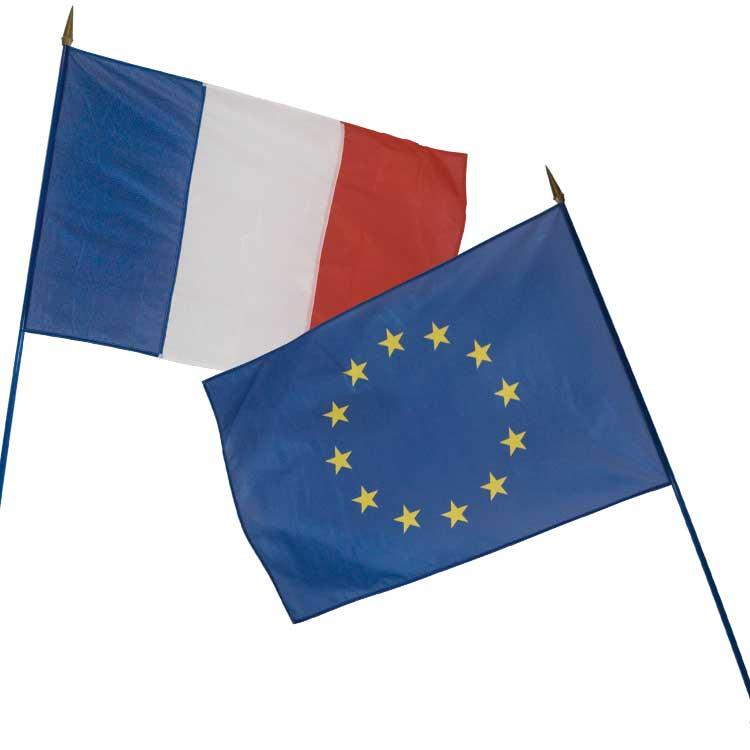 Drapeaux France + Europe pour écusson de façade