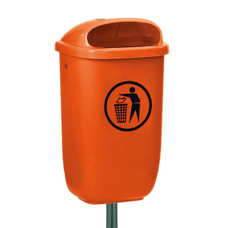 Cendrier basic orange sur poteau