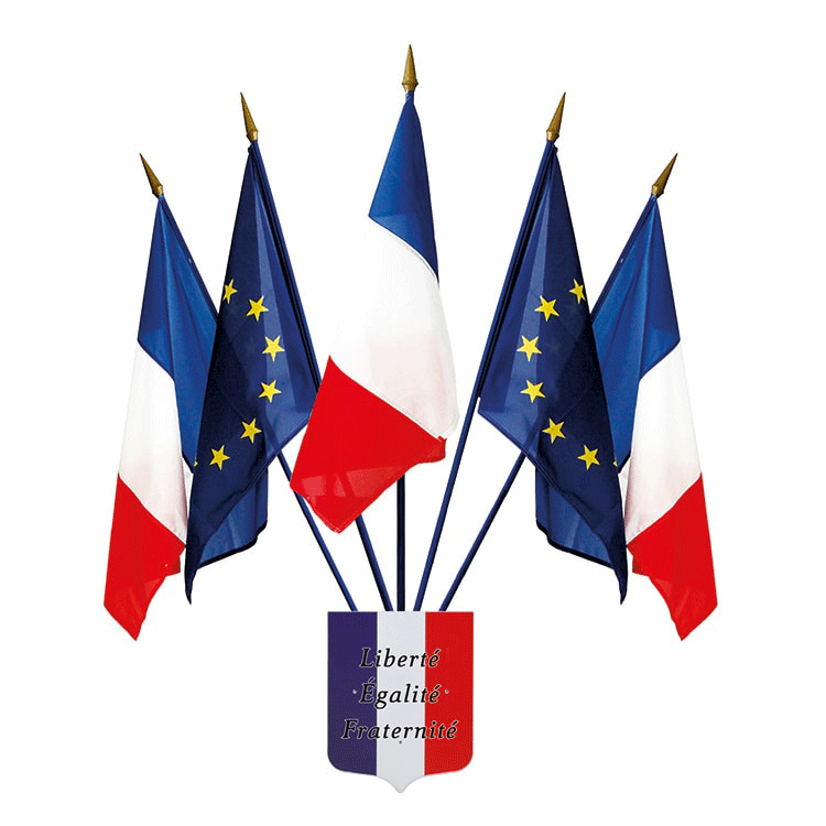Kit 5 drapeaux Français et ecusson français liberté égalité fraternité