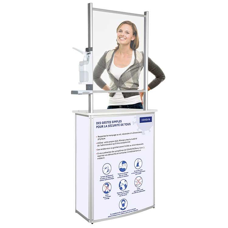 Comptoir d'accueil avec vitre de protection - gestes barrières