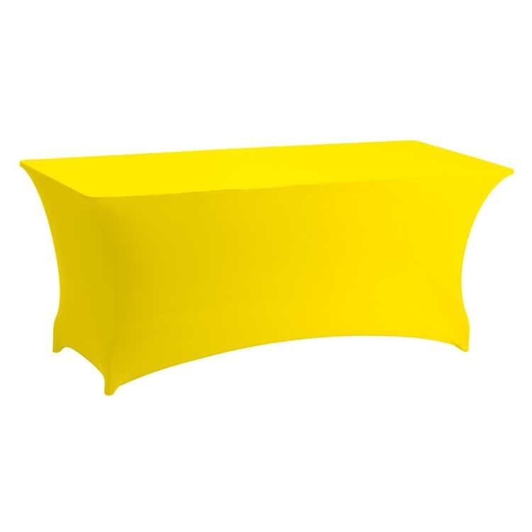 Housse stretch jaune pour table pliante rect. 183 x 76 cm