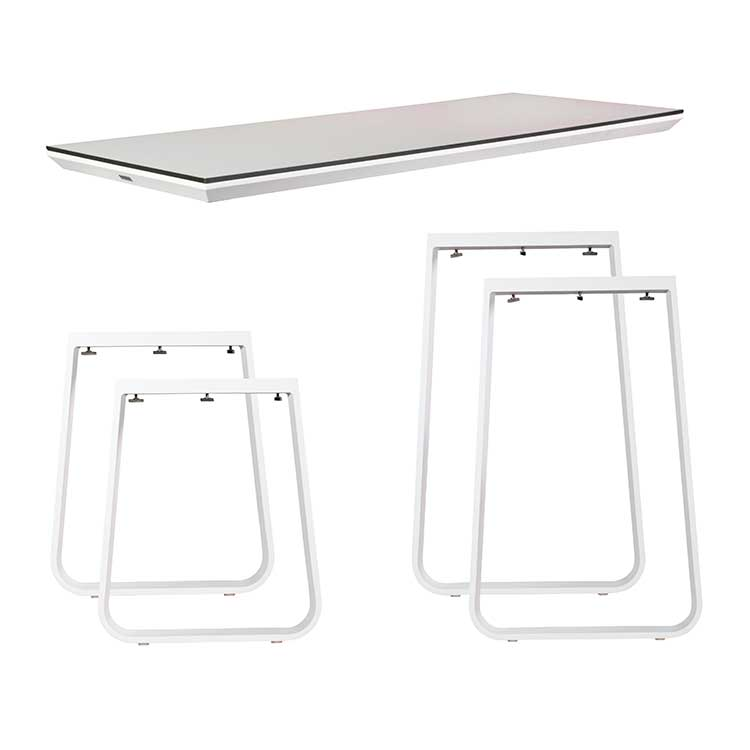 Ensemble table haute/dinner Salt blanc - plateau compact 12 mm