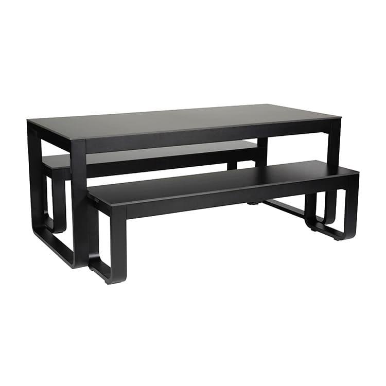 Table pliante + 2 bancs Flow noir – plateau 12 mm