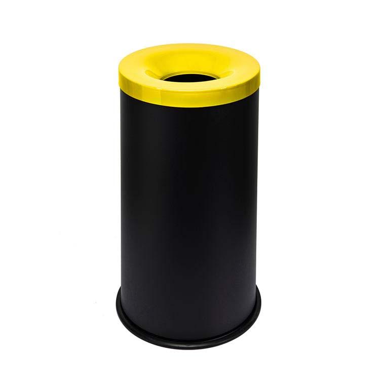 Corbeille anti-feu Autoextint noir/couv. jaune - 90 litres