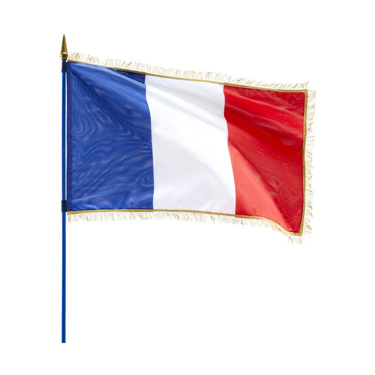 Drapeau France sur hampe avec franges dorées