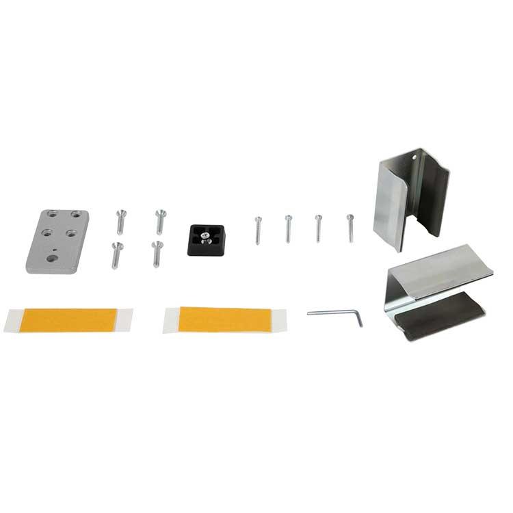 Lot de 2 clips muraux pour paroi de séparation vitrée