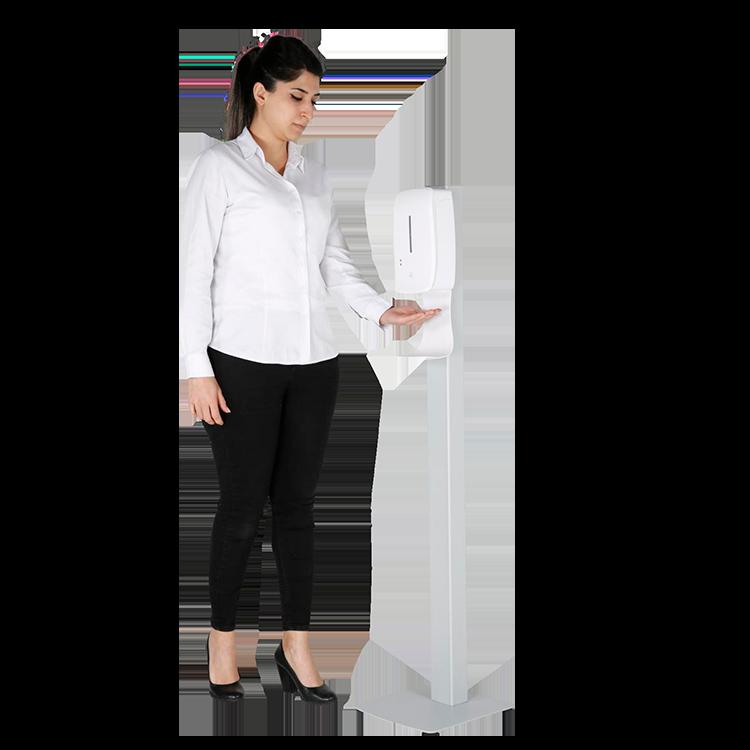 Borne distributeur de gel automatique rechargeable ambiance