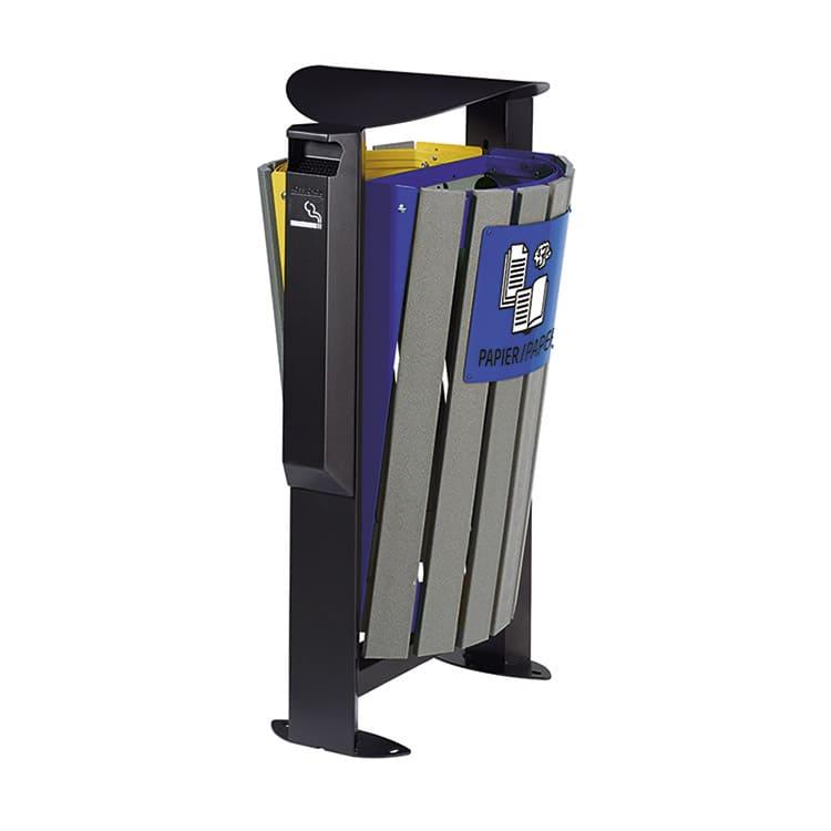 Support sac-poubelle Arkea Etik Bleu/jaune - 2 x 60 L + cendrier
