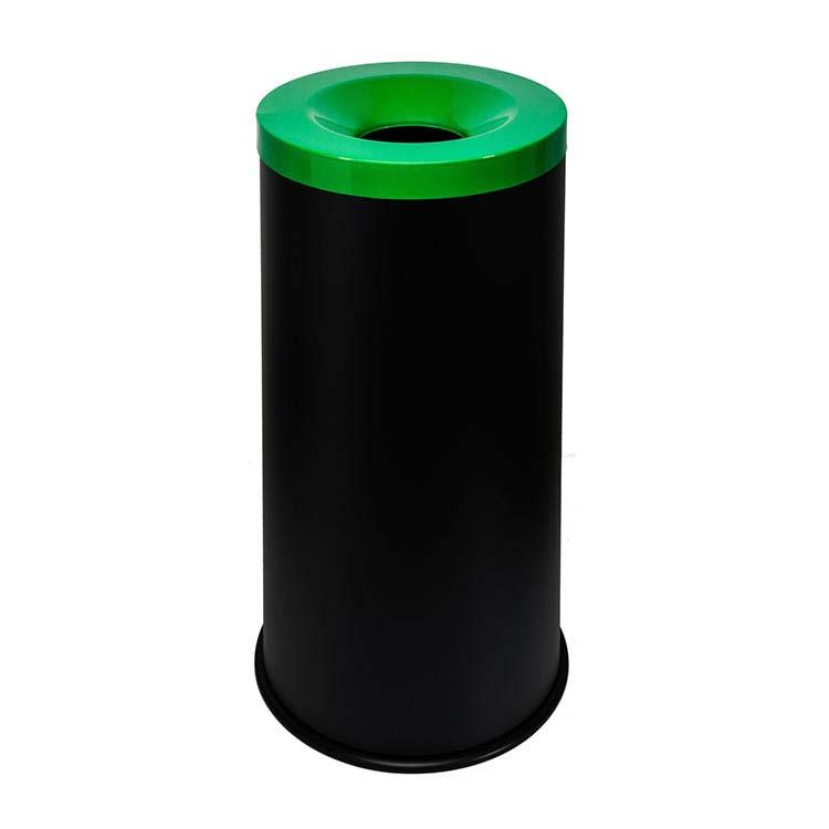 Corbeille anti-feu Autoextint noir/couv. vert - 50 litres