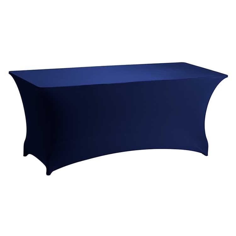 Housse stretch bleu pour table pliante rect. 183 x 76 cm