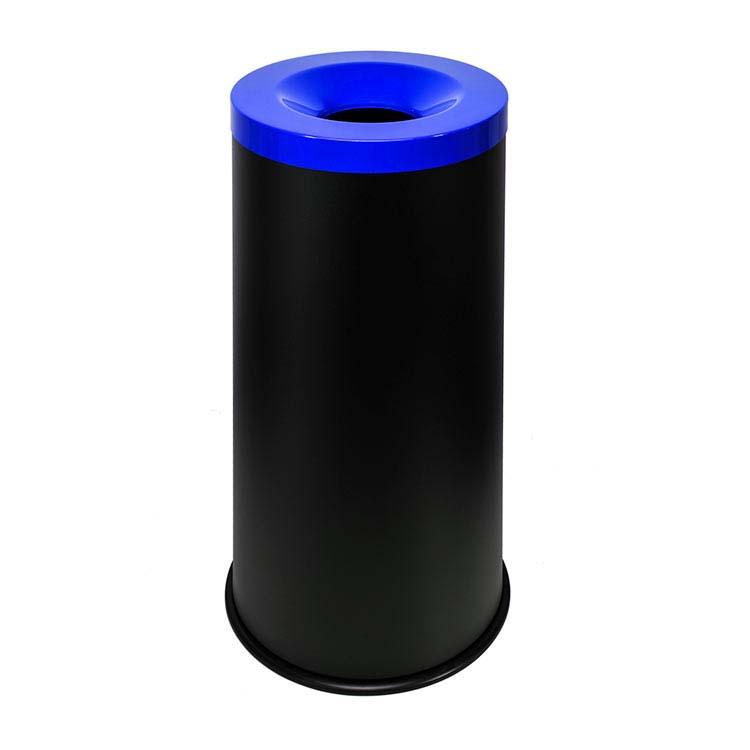 Corbeille anti-feu Autoextint noir/couv. bleu - 50 litres