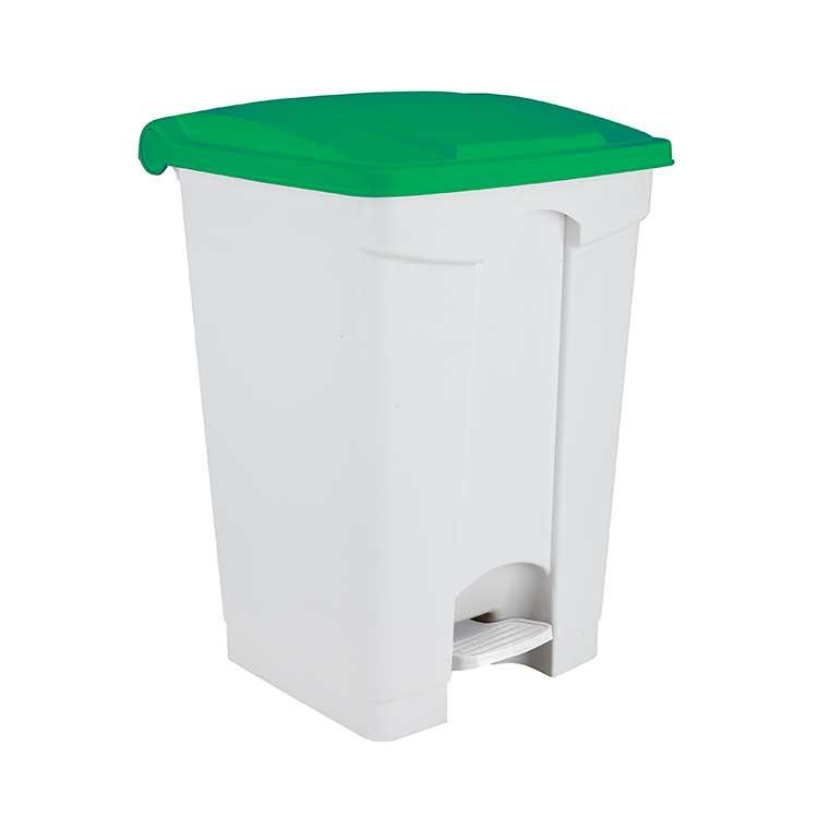 Conteneur à pédale blanc 45 litres - couvercle ver