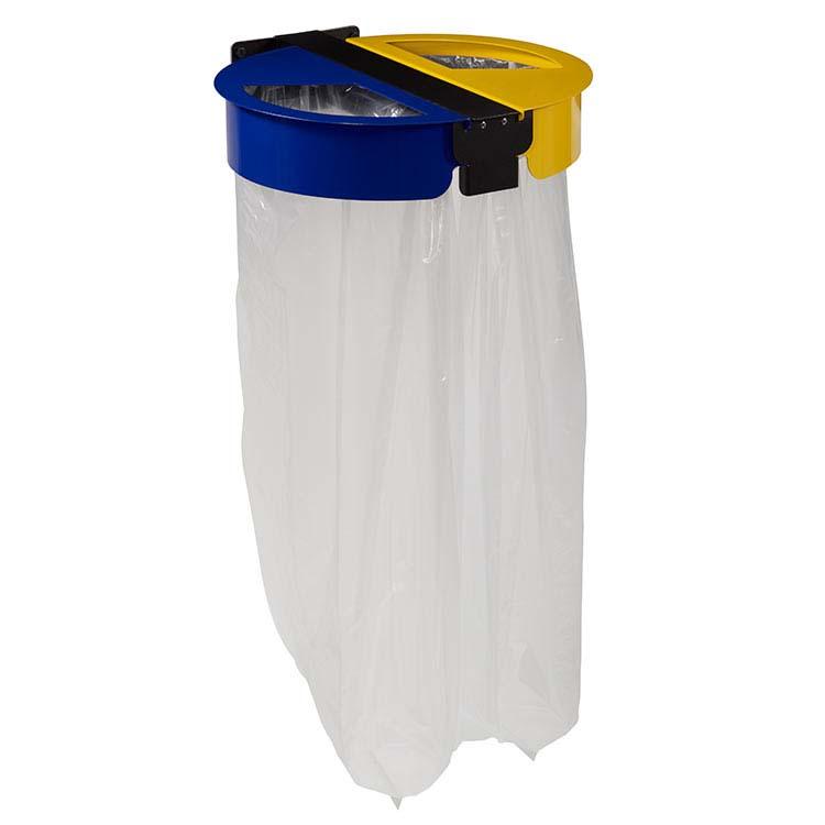 Support sac-poubelle Citwin Premium mural bleu et jaune
