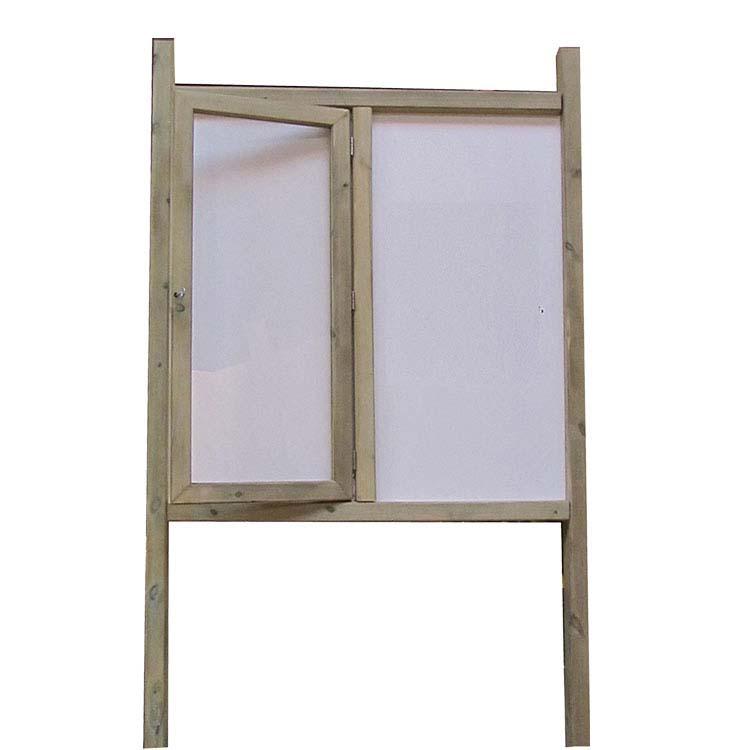 Panneau d'information bois avec vitrine et affichage libre
