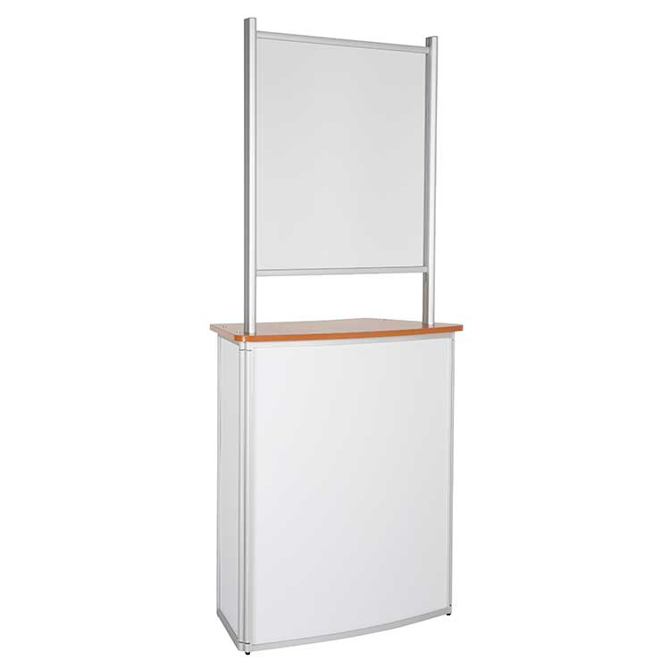Comptoir d'accueil avec vitre de protection - plateau bois