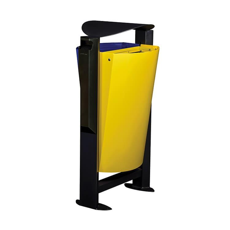 Support sac-poubelle Arkea Métal Bleu/jaune - 2 x 60 L + cendrier